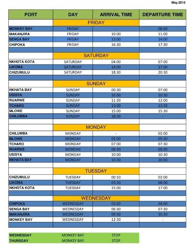 Ilala Timetable